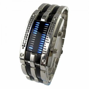 YouYouPifa Trendy Design Army Style LED Watch with Alloy Bracelet and 28 Blue LED Lights for Time & Date Display
