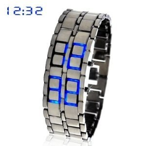 Japanese Iron Inspired Style Blue LED Watch - Arabic Numeral Display