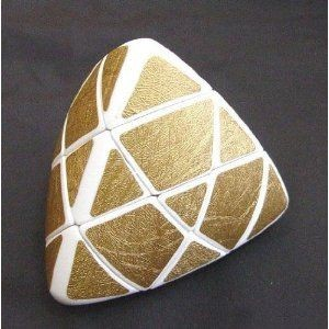 Lanlan Golden Pillowed Shape Master Pyramorphix Puzzle Speed Cube White