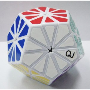 QJ 12 Colors Pyraminx Crystal Megaminx Magic Cube White