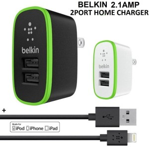 Hot Sale New Belkin 2 Port Wall Home Charger + USB Cable For Apple iPhone6/iPhone5/iPad/iPod