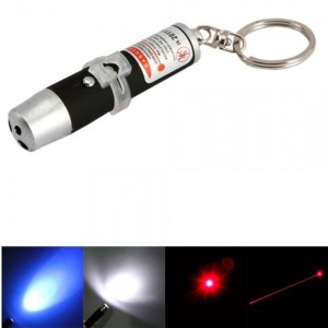 3 in 1 5mW 650nm Black LED Flashlight Red Laser Pointer Keychain (3*LR44)