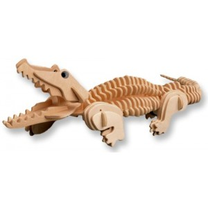 3-D Wooden Puzzle - Small Crocodile -Affordable Gift for your Little One! Item #DCHI-WPZ-M013A