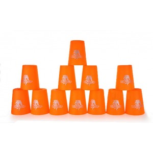 Qiyun Yongjun  Horse's Head Speed Flying Cup Stacking Rapid Cups sets 12 Pieces Orange