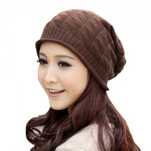 Women Girl Triangle Pattern Slouchy Knit Beret Beanie Crochet Rib Hat Cap Warm FAF028*FBA