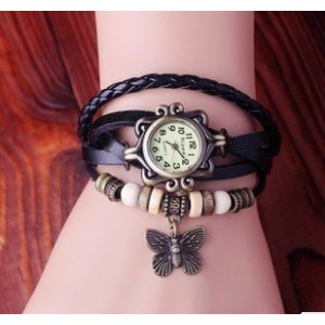 DAYAN Butterfly Charm Women Ladies Weave Wrap Around Leather Belt Bracelet Watch Black