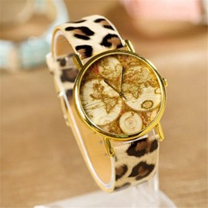 Promithi Women Mens Hours Clock Point Wrist Watch With Continental Map (leopard)