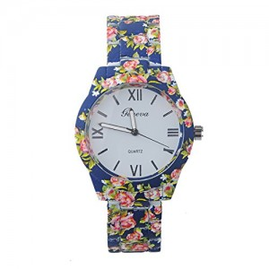 Ryanwayland XMAS Gift New Fashion GENEVA Stainless Steel Flower Style Bracelet Women Ladies Dress Watches Blue