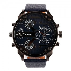 OYang2015 New Military 4 Time Zone Men's Quartz Wristwatch Fashion Unique Design Blue Leather Strap Japan Movement Blue