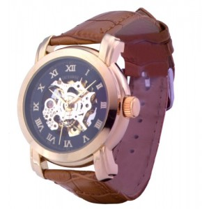 Men's Black Dial Golden Bezel Brown Leather Band Automatic Mechanical Skeleton Wrist Watches