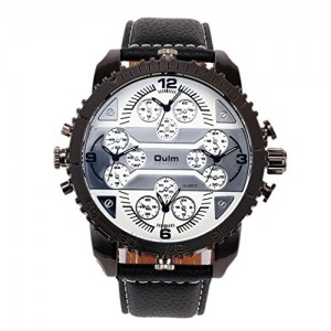 Oulm 3233 Male Quartz Watch with Four Movt Round Dial Leather Watch Strap - White