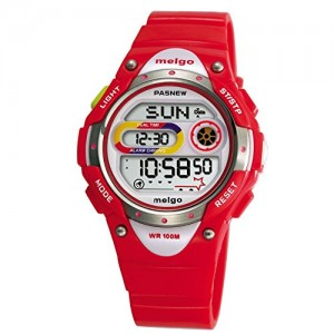 Pasnew LED Waterproof 100m Sports Digital Watch for Children Girls Boys (Red)
