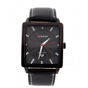 CURREN 6685 Men's Square Dial Analog Watch with Date Display Black
