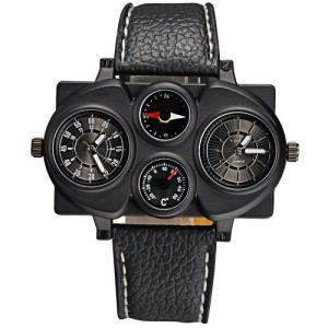 Mudder OULM Adventure Multi-function Dual Movt Black Leather Watch For Men With Rectangle Shaped