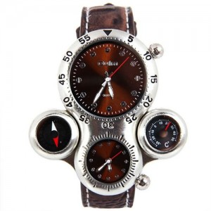 Aircraft Military Sport Analog Quartz Wrist Watch Compass and Thermometer Function Brown
