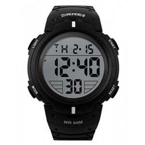 OYang Popular Men's Fashion Electronic Waterproof Outdoor Sports Wrist Watch Black White