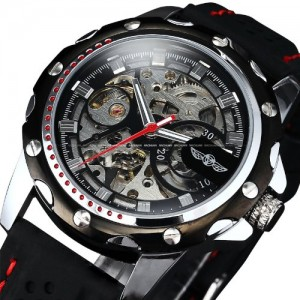 Luxury Sport Watches For Men Skeleton Wrist Watches Automatic Winding Mechanical Movement (Black Dial)