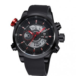 Luxury Brand LCD Back Light Wristwatch Weide Military Watch Army Diver Men's Sport Silicone Strap Watch Calendar(black Red)