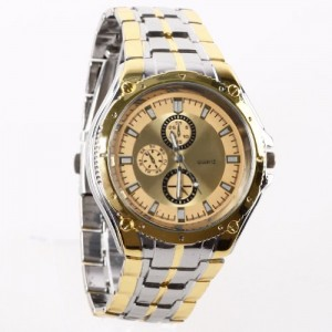 HACBIWA Classic Golden Bracelet Men Stainless Steal Wrist Watches Big Dial Watches