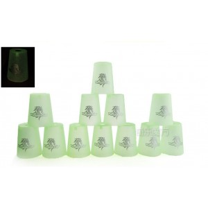 Qiyun Yongjun  Horse's Head Speed Flying Cup Stacking Rapid Cups sets 12 Pieces Green