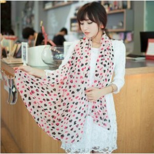 Dragonpad The Chiffon Scarf with Two Color Heart Shape Design Pink