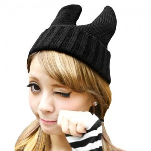 Women Girl Cute Devil Horn Cat Ear Slouchy Knit Beanie Hat Cap FAF033