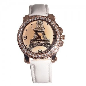 Color Beautiful Copper and Rhinestone Eiffel Tower Quartz Watch for Ladies (white)