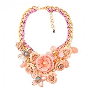 New Fashion Gold Chain Crystal Flower Bib Big Statement Chunky Necklace Collar & Earrings Jewelry Set