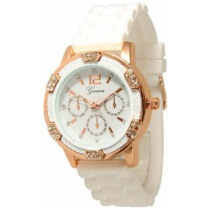 Women`s White Rose Gold Chronograph Silicone with Crystal Rhinestones Bezel