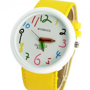 Readeel Yellow Adjustable Faux Leather Women Watch Large Face Arabic Numbers Bracelet Watch