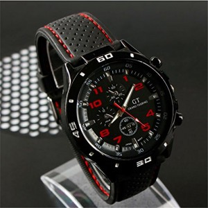 F1 Grand Touring Men`s Military Army Style Red Sports Watches Analog Quartz Black Silicone Strap Red Color