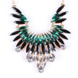Angel`s Wing Green Fringe Dangle Crystal Beaded Charm Choker Necklace