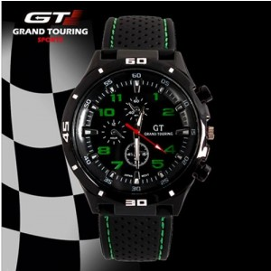 F1 Grand Touring Men`s Military Army Style Green Sports Watches Analog Quartz Black Silicone Strap Green Color
