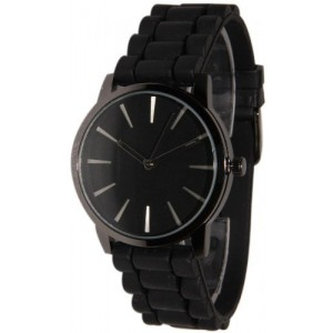 Geneva Black w/ Black Silicone Jelly Watch