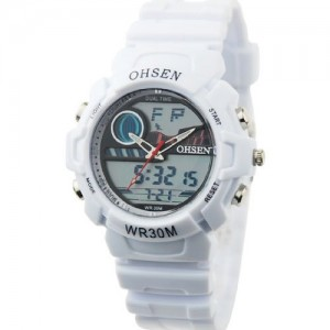 Hot Sale Watch For Men and Women Leisure Retro Fashion Analog & Digital Display Silicone WOH0108 White Color