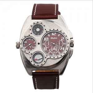 OYang Military Oversize Multi TimeZones 2 Dials Leather Analog Sports Wrist Watch HP1155 Brown Band Brown Face