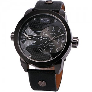 OYang Men's Classic Fashion Quartz Wrist Watch Leather Strap Dual Time Display Unique Design Anti Scratch Black Band Black Face