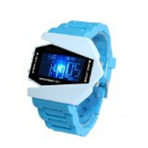 LanLan Plane Style Digital Display LED Elegant Silicone Wrist Watch (Sky Blue)