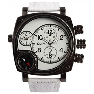 OYang Military Square Multi TimeZones 2 Dials Leather Analog Sports Wrist Watch HP9526 White Band White Face