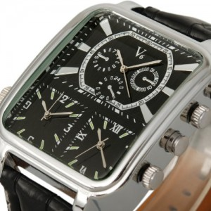Fashion Pilot Triple Cores Hours Luxury Oversize Military Men Cuff Leather Watch