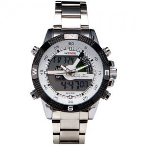 Stainless Steel Digital LED Mens Boys Analogue Alarm Sport Quartz Wristwatch + Gift Box